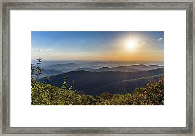 Framed Print featuring the photograph Sunrise Over The Misty Mountains by Lori Coleman