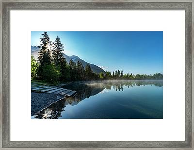 Framed Print featuring the photograph Sunrise Over The Mountain And Through The Tree by Darcy Michaelchuk