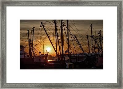 Sunrise Over The New Bedford Harbor Framed Print by John Hoey