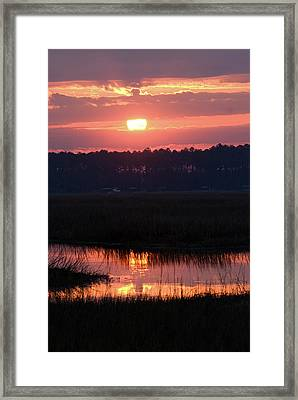 Sunrise Over The River Framed Print by Margaret Palmer