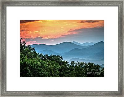Framed Print featuring the photograph Sunrise Over The Smoky's by Douglas Stucky