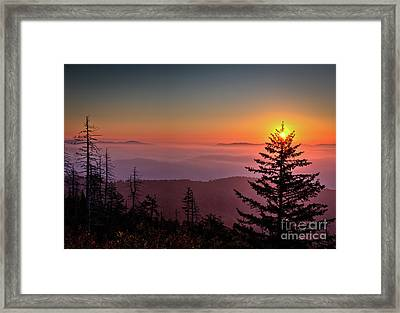 Framed Print featuring the photograph Sunrise Over The Smoky's IIi by Douglas Stucky