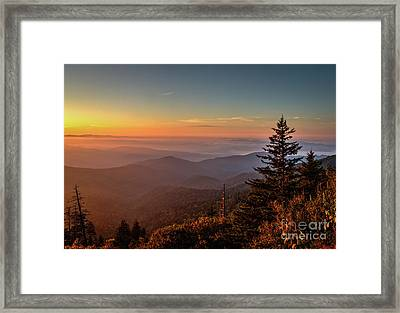 Framed Print featuring the photograph Sunrise Over The Smoky's V by Douglas Stucky