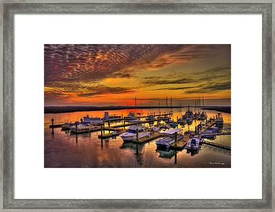 Sunrise Over Tybee Bull River Marina Art Framed Print