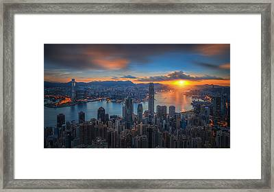 Sunrise Over Victoria Harbor As Viewed Atop Victoria Peak Framed Print by Anek Suwannaphoom