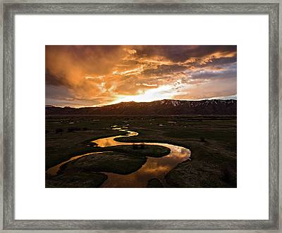 Sunrise Over Winding River Framed Print