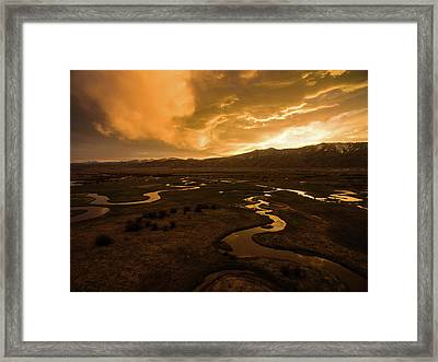 Framed Print featuring the photograph Sunrise Over Winding Rivers by Wesley Aston