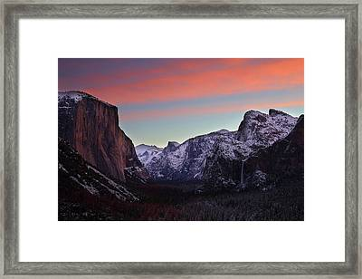 Framed Print featuring the photograph Sunrise Over Yosemite Valley In Winter by Jetson Nguyen