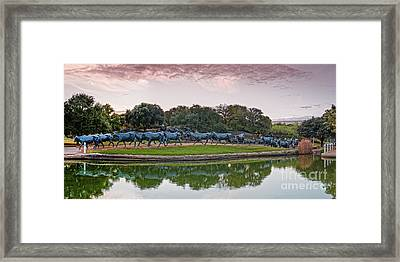 Sunrise Panorama Of Cattle Drive Sculpture At Pioneer Plaza - Downtown Dallas North Texas Framed Print by Silvio Ligutti