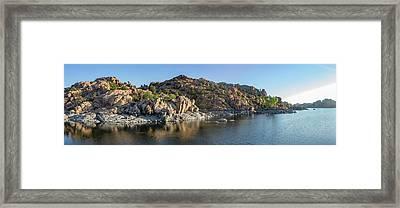 Sunrise Panorama - Watson Lake Framed Print by Teresa Wilson