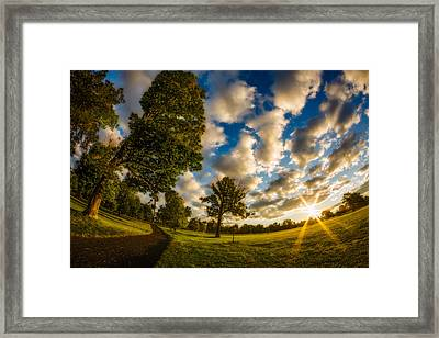 Framed Print featuring the photograph Sunrise Path At Meadows Edge by Chris Bordeleau