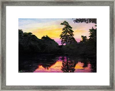 Sunrise Pond Maryland Landscape Original Fine Art Painting Framed Print