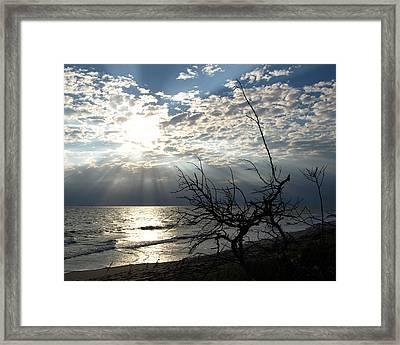 Sunrise Prayer On The Beach Framed Print by Allan  Hughes