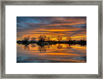 Sunrise Reflection In The River Framed Print