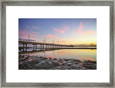 Sunrise Reflections At The Shorncliffe Pier Framed Print