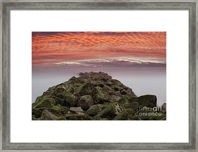 Sunrise Rocky Sea Defence Framed Print