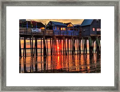 Sunrise Seascape - Old Orchard Beach Pier - Maine Framed Print