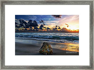 Sunrise Seascape Wisdom Beach Florida C3 Framed Print by Ricardos Creations