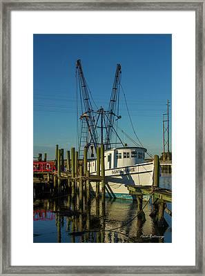 Sunrise Shrimp Agnes Marie Shrimp Boat Tybee Island Georgia Framed Print by Reid Callaway