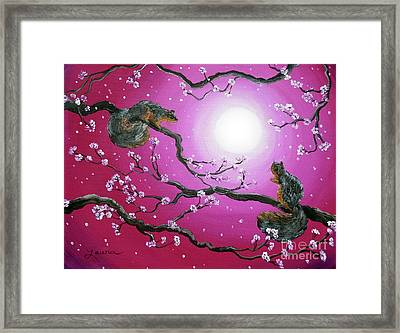 Sunrise Squirrels Framed Print by Laura Iverson