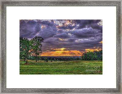 Sunrise Stairways To Heaven Farmland Art Framed Print by Reid Callaway