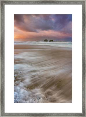 Framed Print featuring the photograph Sunrise Storm At Twin Rocks by Darren White