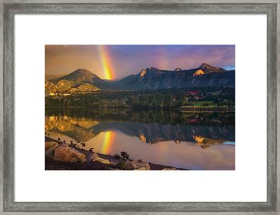 Sunrise Summer Rainbow In Colorado Framed Print