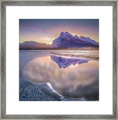 Sunrise Sunburst // Vermillion Lakes, Alberta Framed Print