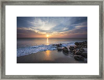 Sunrise Surf Framed Print by Debra and Dave Vanderlaan