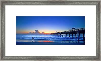 Sunrise Surfer At Pier - 4953 Framed Print
