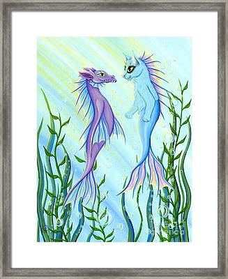 Framed Print featuring the painting Sunrise Swim - Sea Dragon Mermaid Cat by Carrie Hawks