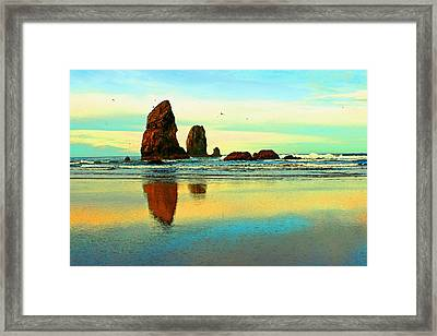 Sunrise  The Needles At Cannon Beach Framed Print by Margaret Hood