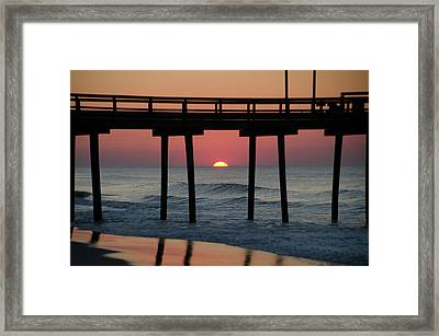Sunrise Through The 32nd Street Pier Avalon New Jersey Framed Print by Bill Cannon