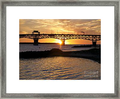 Sunrise Under Coleman Bridge Framed Print