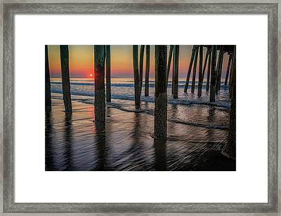Framed Print featuring the photograph Sunrise Under The Pier by Rick Berk