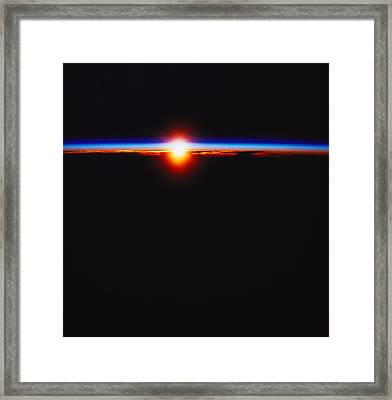 Sunrise Viewed From Space Framed Print by Stockbyte