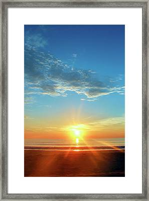 Sunrise With Flare Framed Print