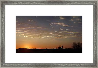 Sunrise With Windmill Framed Print