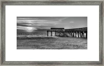 Framed Print featuring the photograph Suns Up Tybee Pier Bw Tybee Island Georgia Art by Reid Callaway