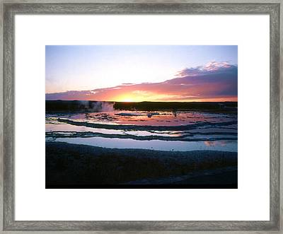 Sunset - Great Fountain Geyser Framed Print by John Foote