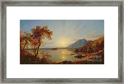 Sunset  Lake George Framed Print by Jasper Francis Cropsey
