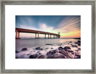 Sunset - Sea Link Framed Print by Brendon Fernandes