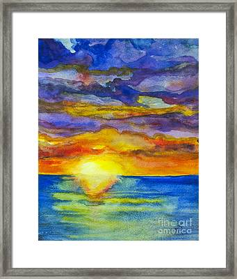 Framed Print featuring the painting Sunset 1 by Suzette Kallen