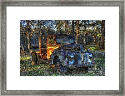 Sunset 1947 Ford Stakebed Pickup Truck Art Framed Print by Reid Callaway