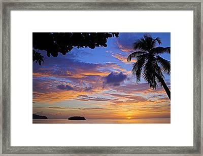 Sunset 2-st Lucia Framed Print