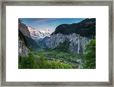 Sunset Above The Lauterbrunnen Valley Framed Print by James Udall