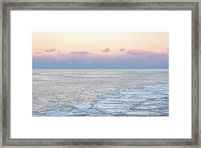 Sunset Across The Frozen Lake Framed Print