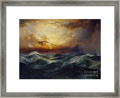 Sunset After A Storm Framed Print by Thomas Moran