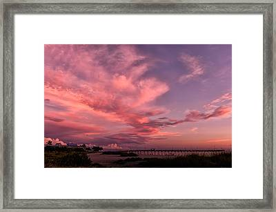 Sunset Afterglow At The Pier Framed Print