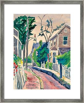 Sunset Afterglow In The Center Of Rockport  Framed Print by Jeri Borst